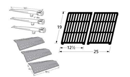Grill Pro 236464 Barbecue Gas Grill Replacement Burner, Heat Plate, Grill Cooking Grid Grate at Sears.com