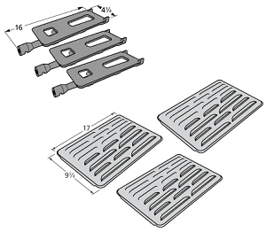 Members Mark Grill Parts Heat Plate And Burner 3 Pack