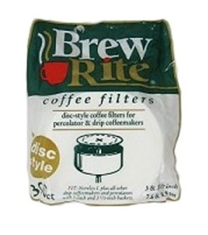 Brew Rite Coffee Filters, Flat Disc-Style Paper, 3.5 Inch, 300 Count