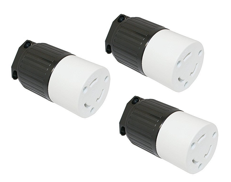 30 Amp 250 Volt Female Twist Lock 3 Wire Cord L6-30R 3 Pack