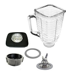 Oster Compatible 5 Cup Square Top 6 Piece Glass Jar/Blade Set