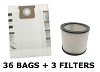 36 Bags & 3 Filters for Shop Vac 10, 12, 14 Gallon