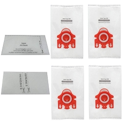 EFP HEPA Bag for Miele FJM AirClean 3D Efficiency HyClean Cloth, 4 Vacuum Bags + 2 Filters