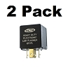 5-Prong LED Compatible Turn Signal Flasher Relay EF27L, 12 AMP Five Pins Square 2 Pack