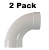 Central Vacuum 90 Degree Sweep Elbow Fitting for 2 Inch Vacuum Pipe 2 Pack