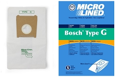 DVC Micro-Lined Paper Replacement Bags Type G Fit Bosch Formula and Compact Series BSA, BSG - 5 Bags