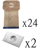 24 HEPA Allergy Bags and 2 Filter for Electrolux Canister Vacuum 2100 Style C