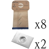 8 Electrolux Style C Vacuum Bags with 2 Filters