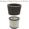2 Filter Cartridge for Shop Vac 9030400 90304 903-04-00 + 4 Foam 905-85