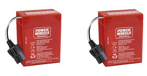 Power Wheels Super 6 Volt Red Battery 00801-0712, 2 Pack