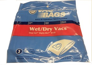 Vacuum Cleaner Bag for Shop Vac Mighty Mini M100 3 Bags + 1 Filter