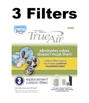 3 Genuine Hamilton Beach TrueAir Replacement Carbon Filters Household True Air