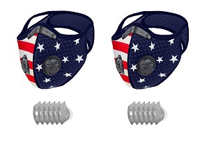 Dust Sports Face Cover Windproof Breathable Design for Running Cycling Mowing Outdoor Activities USA American Flag Color 2 Covers + 12 Filters