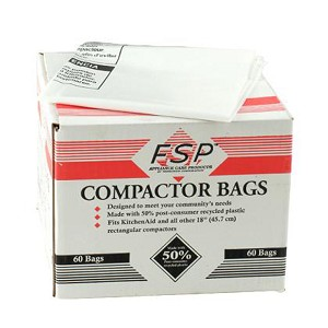 Whirlpool W10165296BU 18-Inch Plastic Compactor Bags with Odor Remover, 60-Pack