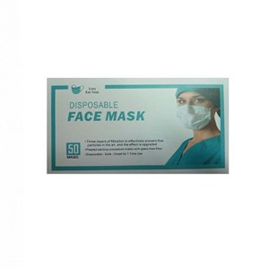 50 Disposable 3 Ply Face Masks with Ear Loop